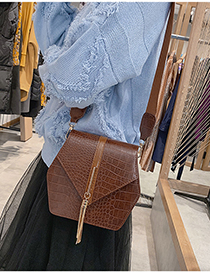 Fashion Light Brown Tassel Decorated Pure Color Shoulder Bag