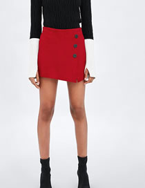 Fashion Red Buttons Decorated Pure Color Skirt