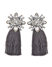 Elegant White+gray Diamond Decorated Long Tassel Earrings