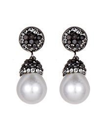 Elegant White Diamond&pearls Decorated Long Earrings