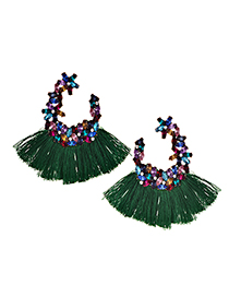 Elegant Green Full Diamond Design Tassel Earrings
