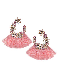 Elegant Light Pink Full Diamond Design Tassel Earrings