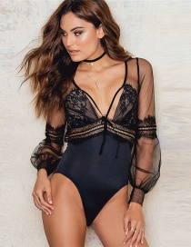 Sexy Black V Neckline Design Long Sleeves Jump Suit