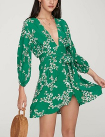 Fashion Green Flower Pattern Decorated Long Sleeves Dress