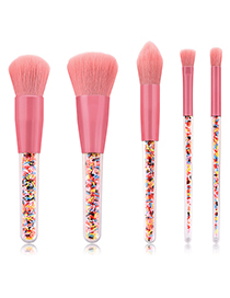 Fashion Pink Flat Shape Decorated Make Up Brush(5pcs)