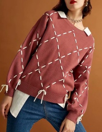 Fashion Pink Grids Pattern Decorated Sweater