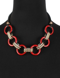 Fashion Red Circular Ring Shape Decorated Necklace