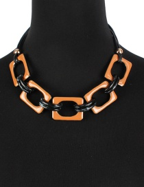 Fashion Brown Square Shape Decorated Necklace