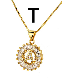 Simple Gold Color Letter T Shape Decorated Necklace