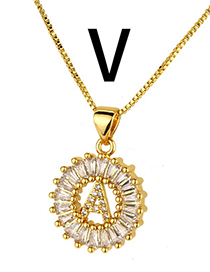 Simple Gold Color Letter V Shape Decorated Necklace