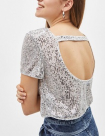 Fashion Silver Color Pure Color Decorated Shirt