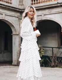 Fashion White Spot Pattern Decorated V Neckline Dress