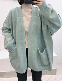 Fashion Green Pure Color Decorated Coat