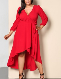 Fashion Red Pure Color Decorated V Neckline Dress