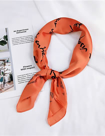 Lovely Orange Leaf Pattern Decorated Simple Scarf