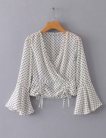Fashion White Dots Pattern Design V Neckline Blouse