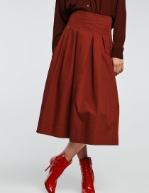 Fashion Claret Red Pure Color Decorated A-line Skirt