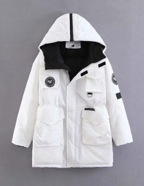 Fashion White Badge Pattern Decorated Down Jacket