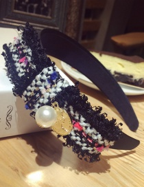 Fashion Black Pearls Decorated Hand-woven Hair Hoop