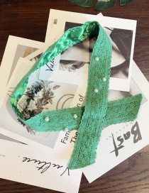 Elegant Green Pearls Decorated Pure Color Hair Band
