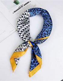 Fashion Blue+white Leopard Pattern Decorated Small Scarf