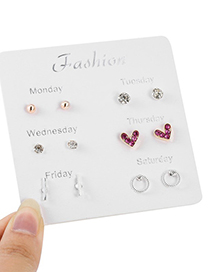 Elegant Alloy Heart Shape&diamond Decorated Earrings(6pairs)