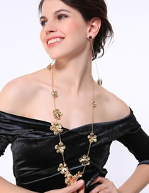Fashion Gold Color Flowers Decorated Pure Color Necklace