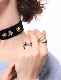 Fashion Antique Bronze Diamond&flower Decorated Ring Sets