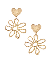 Elegant Gold Color Flowers Decorated Heart Shape Earrings