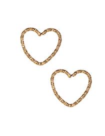 Elegant Gold Color Pure Color Design Heart Shape Earrings