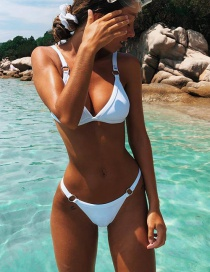 Sexy White Circular Rings Decorated Pure Color Bikini