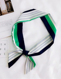 Fashion Green Stripe Pattern Decorated Small Scarf
