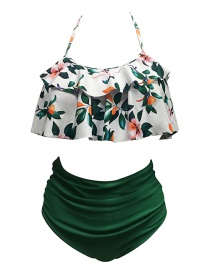 Sexy Green Flower Decorated Off-the-shoulder Bikini