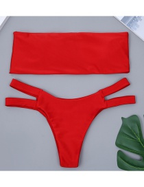 Sexy Red Pure Color Decorated Strapless Bikini