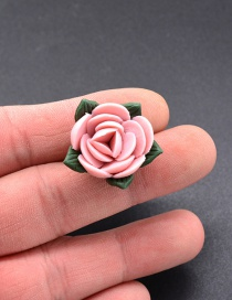 Fashion Pink Flower Shape Design Simple Brooch