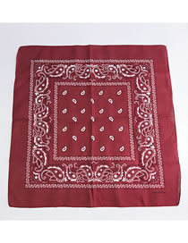 Fashion Claret Red Cashew Pattern Decorated Small Scarf
