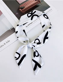 Fashion White Letter Pattern Decorated Small Scarf