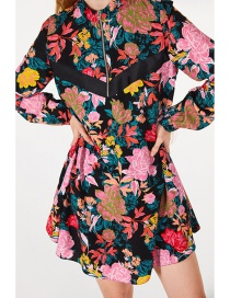 Fashion Red Flower Pattern Design Long Sleeves Dress