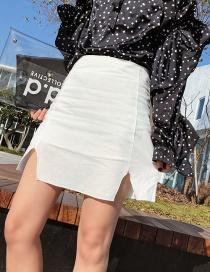 Fashion White Pure Color Design High Waist Skirt