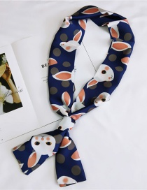 Fashion Navy Rabbit Pattern Decorated Scarf
