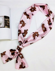 Fashion Pink Bear Pattern Decorated Scraf