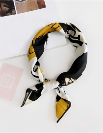 Fashion Black+yellow Letter Pattern Decorated Scarf