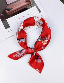 Fashion Red Flowers Pattern Decorated Small Scarf