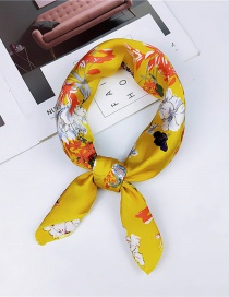 Fashion Yellow Flowers Pattern Decorated Small Scarf