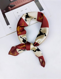 Fashion Claret Red Geometric Pattern Decorated Scarf