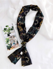 Fashion Black Flowers Pattern Decorated Scarf