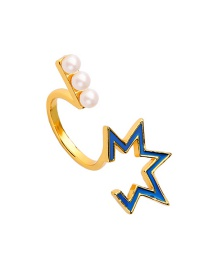 Fashion Blue-3 Star Shape Pearl Opening Ring