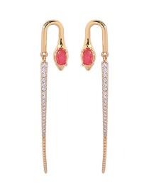 Fashion Gold + Red 925 Silver Needle Snake Shape Diamond Earrings