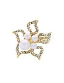 Fashion Gold Alloy Flower Pearl And Diamond Ring