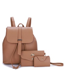 Fashion Light Brown Three-piece Backpack